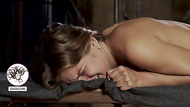Seductive slut tortured on the bench