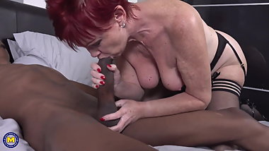 Modern granny suck and fuck black cock