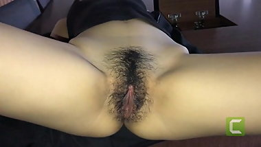 Hairy Chinese Teen Take Big White Old Cock on Office Table