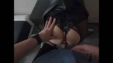Petite Secretary Ass Fucked and Covered with Cum