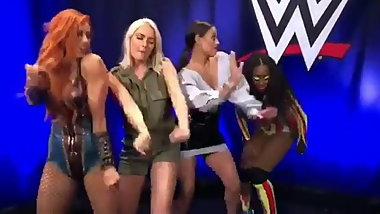 Becky Lynch, Renee Young, Naomi dancing the Shiggy Challenge