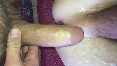 thick cum on the boy's skinny ass