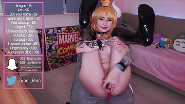 creamy bowsette cums while cumshow zzzirael in latex suit