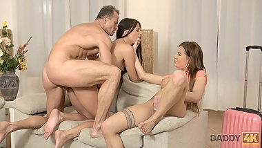 DADDY4K. Old and young FFM threesome behind