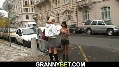 Young dude picks up and fucks old blonde prostitute