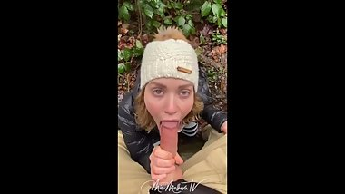 MIA MALKOVA BLOWJOB IN THE WOODS ONLYFANS VIDEO