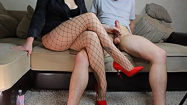 Hot School Teacher in Fishnet and High Heels Femdom Handjob - Ruined Orgasm