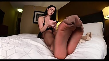 Teen Girl in Stockings Showing Her Sexy Nylon Feet and Soles