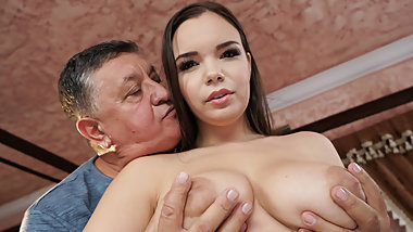 Busty Babe Fucks Her Sugar Daddy! What Nasty Teen!