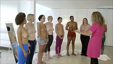 Various women examine their diverse tits on TV