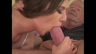 Young girl blowjob big grandpa cock