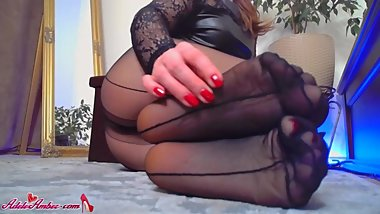 Housewife Demonstrates Sexy Foots in Pantyhose after Party