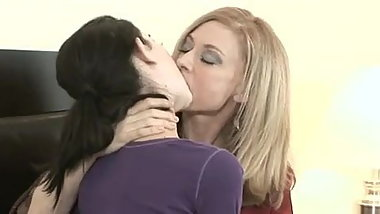Old and Young Lesbians Kissing