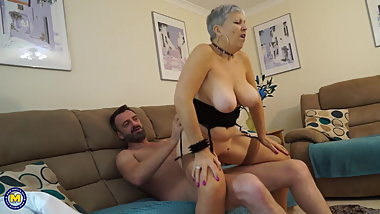 Grandma with big tits fucks guy