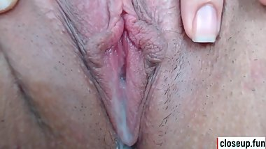 Wet pink asian pussy close up