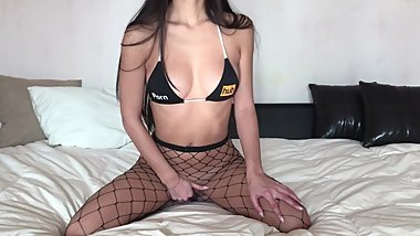 Petite Teen Playing with a Glass Dildo in Sexy Fishnets and Cums Hard
