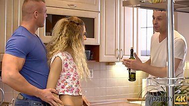 DADDY4K. Curly-haired babe Monique Woods and mature man