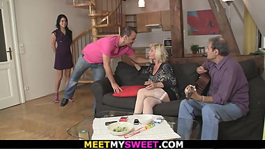 Old couple seduce and fuck son's young girlfriend