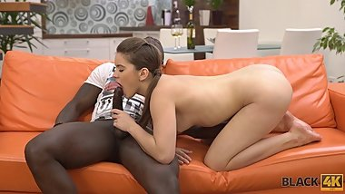 BLACK4K. Interracial love of tender teen Evelina Darling and caring black