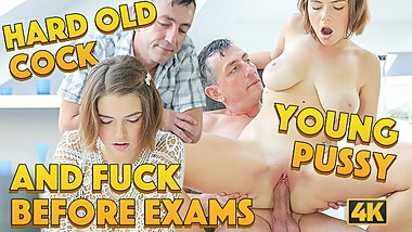 OLD4K. Daddy erupts cum on pubis of young seductive student