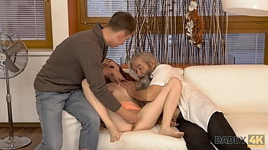 DADDY4K. Grey-haired daddy owns vagina of sons petite gf