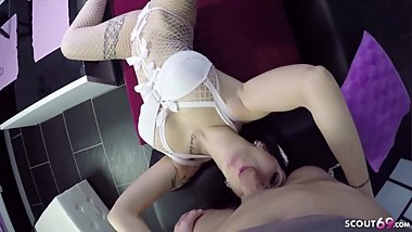 Real German Prostitute Fuck no Condom with Dirty Talk by client at home