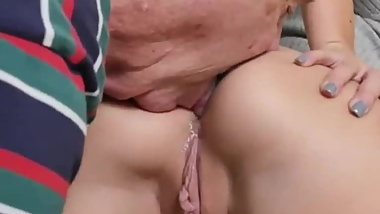 Cuckold watch an old grandpa licking girlfriend's ass