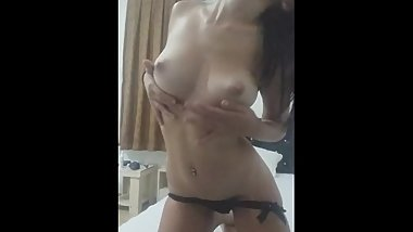 Bulgarian Babe Teasing and Stripping Showing Natural Boobs