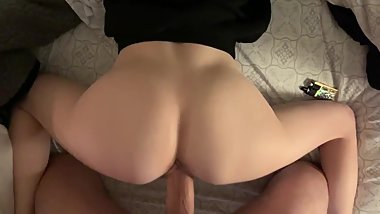 Daddy STUFFING my young wet twat and cumming