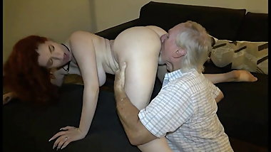 Young redhead gives grandpa a chance