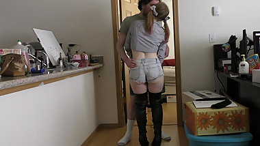 19 princess booty shorts over the knee boots fucked & facial