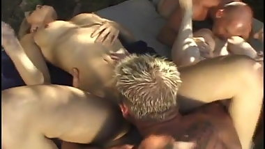 Two young couples fuck in the garden