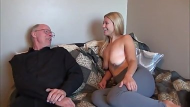 Grandpa fucks schoolgirl with big saggy tits