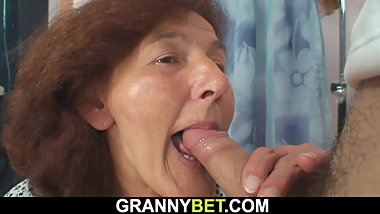 Sewing granny sucks and rides his young dick