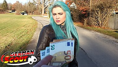 GERMAN SCOUT - GREEN HAIR TEEN TALK TO FUCK AT REAL PICK UP STREET CASTING
