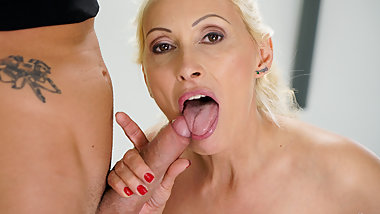 Hot Blonde GILF Charms Yoga Instructor to Fuck Her
