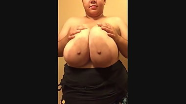 Huge young black BBW shows her boobs
