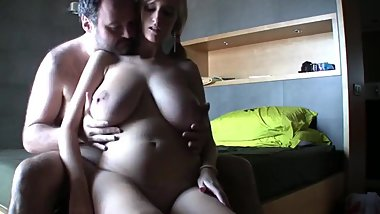 Lucky daddy with small cock fucks hard busty college girl