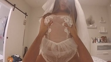 Brunette Teen Bride-to-be Wants to Practice for the Big Night