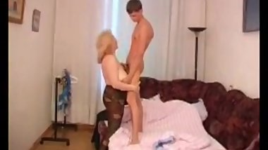Blonde russian BBW mom Irina rifes college stud cock