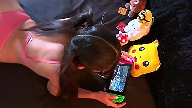 Cute Gamer Girl,SheТs Playing a VideoGame and Fucking in the Ass,Latin Teen