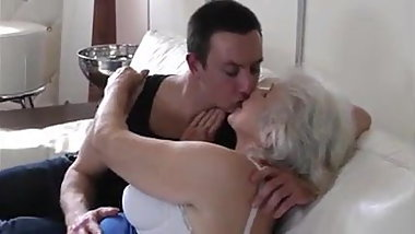 Hot granny and young man seduces each other